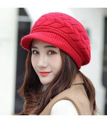 damas de otoño e invierno pato lengua flecha hilado boina sombrero de punto