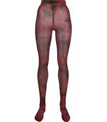 richard quinn floral tights - red