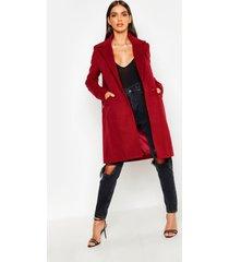zip pocket tailored coat, burgundy