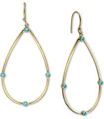 argento vivo reconstituted turquoise teardrop drop earrings in 18k gold-plated sterling silver