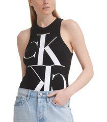 calvin klein jeans racerback logo bodysuit