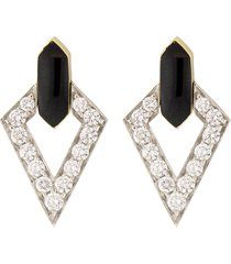 double diamond and black enamel earrings