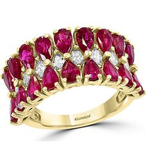 14k yellow gold ruby & diamond tiered ring