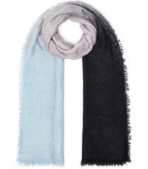 'newton' gradient cashmere wool silk fringe edge scarf