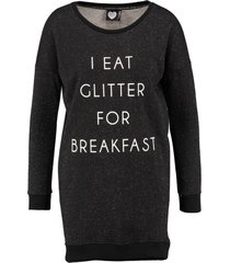 catwalk junkie zwarte slim fit sweater jurk met glitter