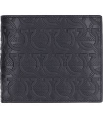 salvatore ferragamo all-over logo print flap-over wallet