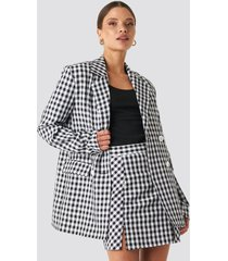 na-kd classic gingham double breasted blazer - multicolor