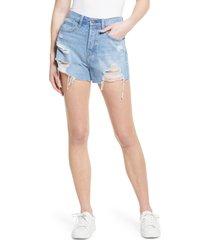 women's hidden jeans destroyed rainbow thread mom denim shorts, size x-small - blue