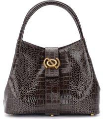 zoe model portrait line shoulder bag in brown leather with crocodile print
