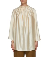 'ava' ruched silk blouse