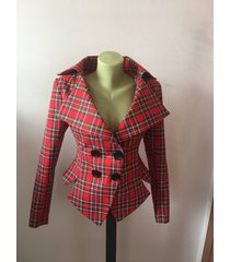 red tartan checked royal stewart tailored jacket/vintage style plaid jacket