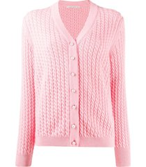 alessandra rich twisted rope detail cardigan - pink