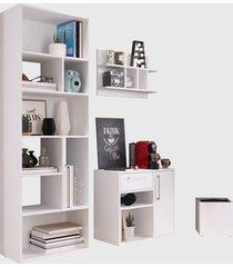 conjunto para escritório 01 livreiro/balcão multiuso/prateleira/cachepôt branco modern office e estilare móveis