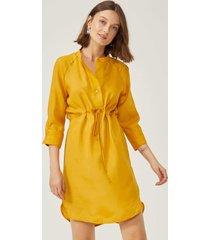 vestido amaro midi com cintura ajustã¡vel amarelo escuro - amarelo - feminino - dafiti