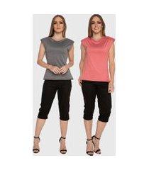 kit 2 blusas regata muscle tee carbella regata modal confort com ombreira cinza/vermelhomescla