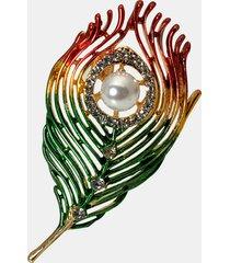 fashion design colorful spille con perle a foglia abito con spille per camicetta miglior regalo per i suoi accessori