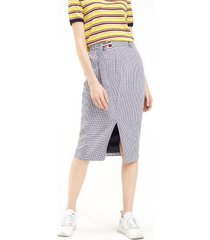 tommy hilfiger women's houndstoo pencil skirt mini dogstooth / sky captain - 6