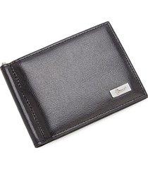 royce new york men's rfid leather money clip wallet - black