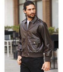 chaqueta delantera con cremallera de cuero pu con cuello clásico y estilo vintage para hombre