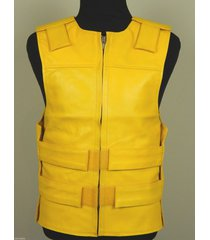 yellow - leather - bulletproof style motorcycle vest