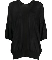 p.a.r.o.s.h. 3/4 sleeve relaxed-fit cardigan - black