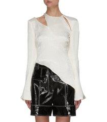 'ursinia' cut out shoulder asymmetric hem crinkle satin blouse