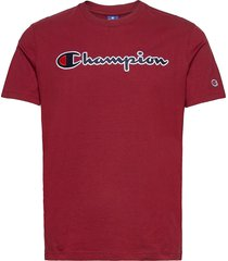 crewneck t-shirt t-shirts short-sleeved röd champion