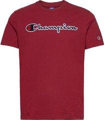 crewneck t-shirt t-shirts short-sleeved röd champion
