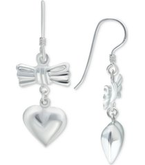 giani bernini bow & heart drop earrings in sterling silver, created for macy's