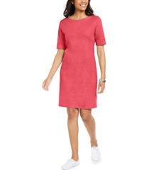 karen scott petite cotton boat-neck elbow-sleeve dress, created for macy's