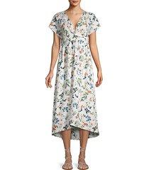 floral-print linen a-line dress