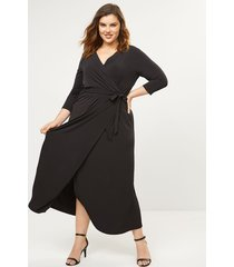 lane bryant women's 3/4 sleeve faux-wrap dress 10/12p black