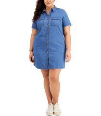 style & co plus size button-front cotton denim dress, created for macy's