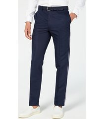 calvin klein men's skinny-fit contrast piped suit pants