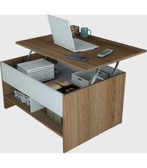 mesa de centro articulada c/ nichos popup castanho e branco appunto