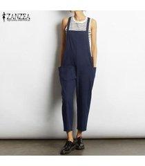 zanzea mujeres sueltan bib pantalones pantalones peto mono más el tamaño de traje de trabajo -azul