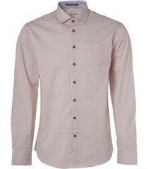 no excess shirt, l/sl, allover printed, stret peach