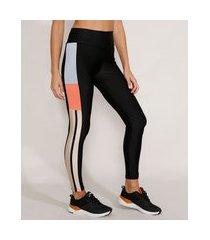 calça legging feminina esportiva ace color block com brilho preta