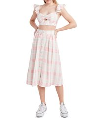 bcbgeneration plaid button-front skirt