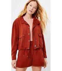 loft petite soft twill drawstring jacket