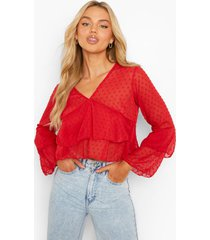 dobby mesh blouse met v-hals en ruches, red