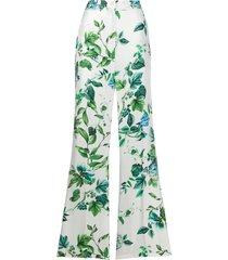 blumarine floral print silk trousers - white