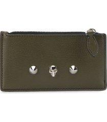 alexander mcqueen small studded zip pouch - green