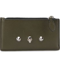 alexander mcqueen small studded zip pouch - green