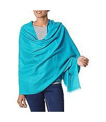wool shawl, 'valley mist in turquoise' (india)