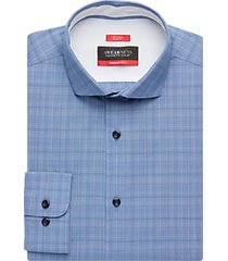 awearness kenneth cole awear-tech blue plaid slim fit dress shirt