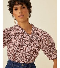 amaro feminino blusa botões ombro lateral, animal spots