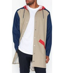 rains color block long jacket jackor blå/beige
