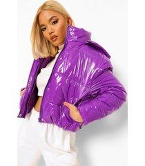 petite korte glanzende jas met capuchon, purple