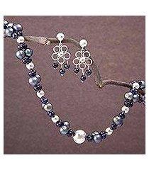 pearl jewelry set, 'iridescent grey' (peru)